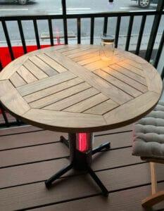 altanbord med varme